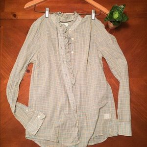 GAP button down, plaid, ruffle